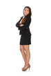 Businesswoman Standing Arms Crossed Over White Background