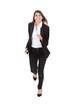 Happy Businesswoman Running Over White Background