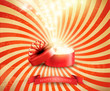 Retro Christmas holiday background with open gift box and magic