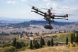 Flying drone in the skies of Tuscany
