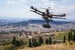 Leinwanddruck Bild - Flying drone in the skies of Tuscany