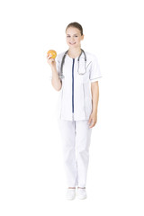 Nutritionist holding an orange