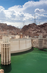 Hoover Dam and Penstock Towers in Lake Mead of the Colorado Rive