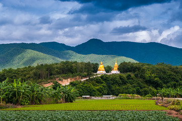 Rainy season colors of hight Mountains north of Thailand