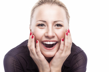 Excited Caucasian Woman Looking Forward  with Joy, Fascination a