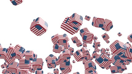 flying boxes with usa national flag