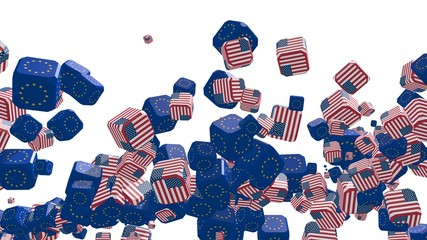 flying boxes with europe union and usa national flag