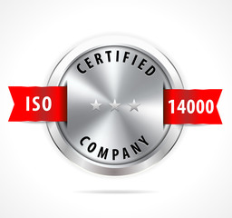 ISO 14000 certified, silver badge with red ribbon - vector eps10