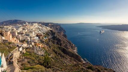 Santorini Island, Greece. Cruise ship on the Aegan Sea