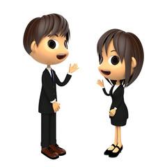 紹介する男女のビジネスシーン