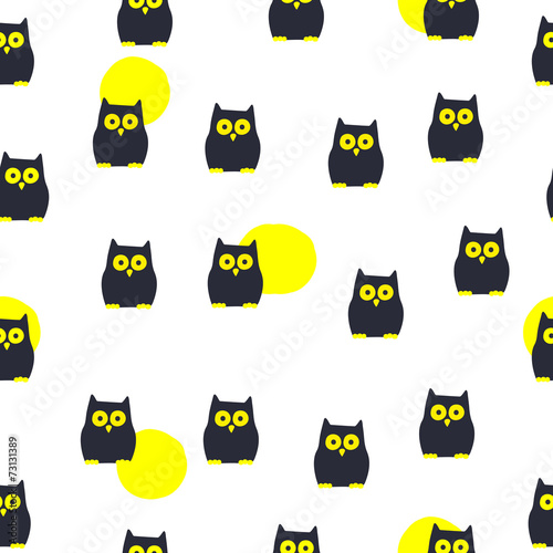 Seamless Pattern. Cute Owl - 73131389