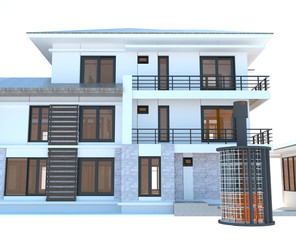 Future residential apartment with huge outer battery energy sour