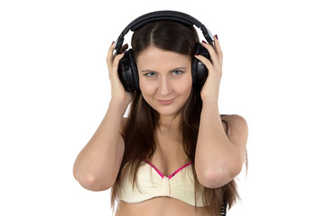 Photo of young woman in headphones