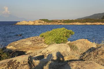 Bay of Caridi beach in Vourvourou. Evening summer landscape.