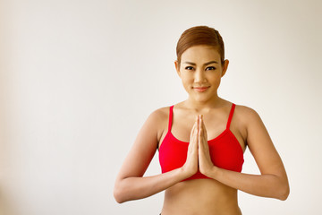 smiling, happy, positive fitness woman practicing yoga