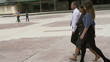Businesspeople walking on public square, slow motion, steadycam