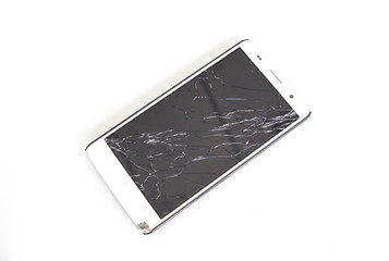 Modern mobile smartphone with broken screen isolated on white ba