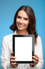 Businesswoman showing blank tablet pc, on blue