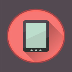 Flat long shadow icon of touch pad
