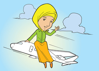 Muslim asian woman flying on plane