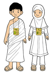 Muslim pilgrim boy and girl