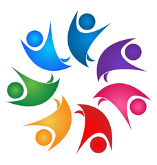 Teamwork colorful happy people logo