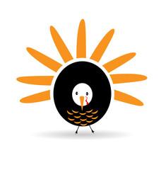 Happy Thanksgiving celebration turkey logo