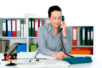 woman is calling in office