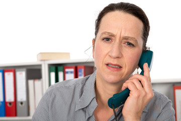 businesswoman has a disagreeable phone call