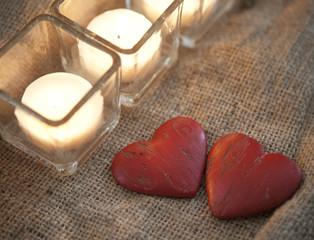 coeurs et ambiance de bougies