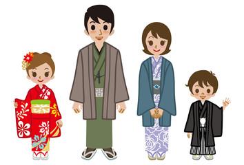 Japanese family wearing Kimono