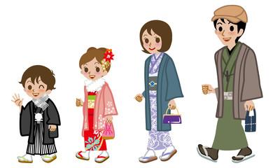 New year's Kimono family walking,side view
