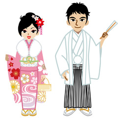 Young Kimono couple,Isolated