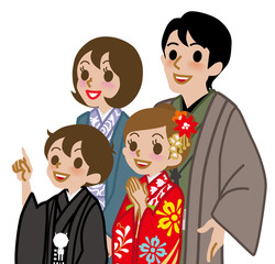 New year's Kimono family,Waist Up