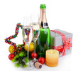 Christmas decorations and champagne isolated on white