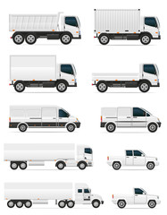 set of icons cars and truck for transportation cargo vector illu
