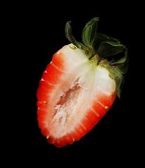 Strawberry on black background