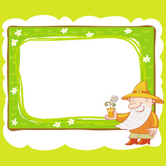Gnome And Flower Frame.