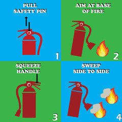 red fire extinguisher procedure. vector illustration