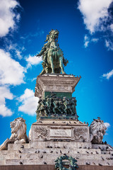 Victor Emmanuel II monument in Milan, with clear blue sky