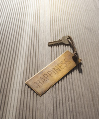 Self improvement concept,Hapiness key with tag label