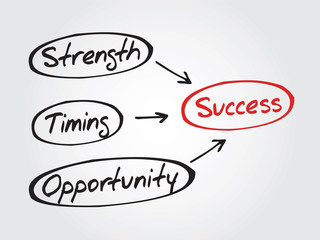 Success concept Strength, Timing, Opportunity, diagram, chart