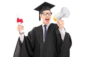 Graduate student speaking on a megaphone