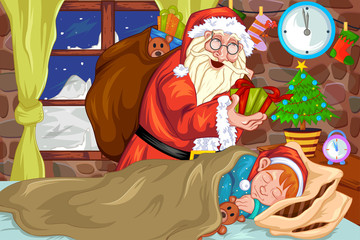 Santa clause with Cristmas gift