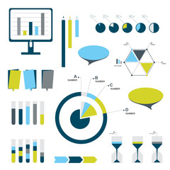 Flat infographic set of charts, bubbles, diagrams.