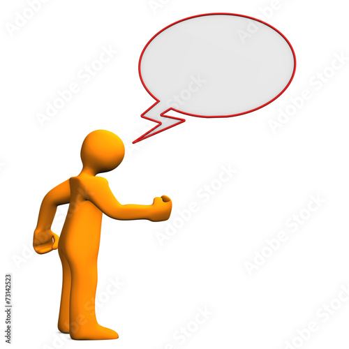 canvas print picture Manikin Speech Bubble Angry