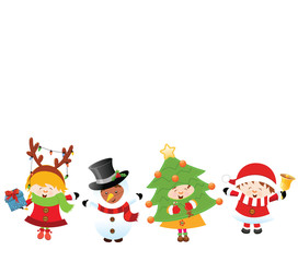 Kids With Christmas Costume (Isolated)