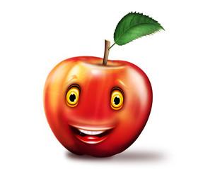 roter Apfel mit Gesicht, freigestellt