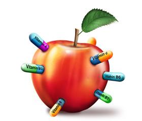 roter Apfel Multivitamine, freigestellt