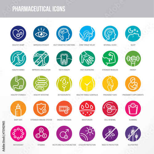 Zdjęcia na płótnie, fototapety, obrazy : Pharmaceutical and medical icons set